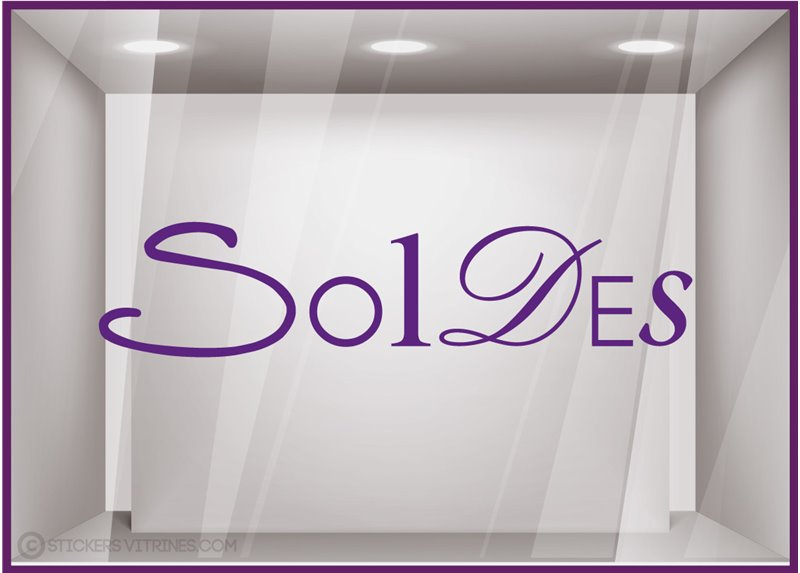 Sticker Soldes Lettres lettrage adhesif destockage liquidation braderie vitrophanie calicot mode parfumerie beaute