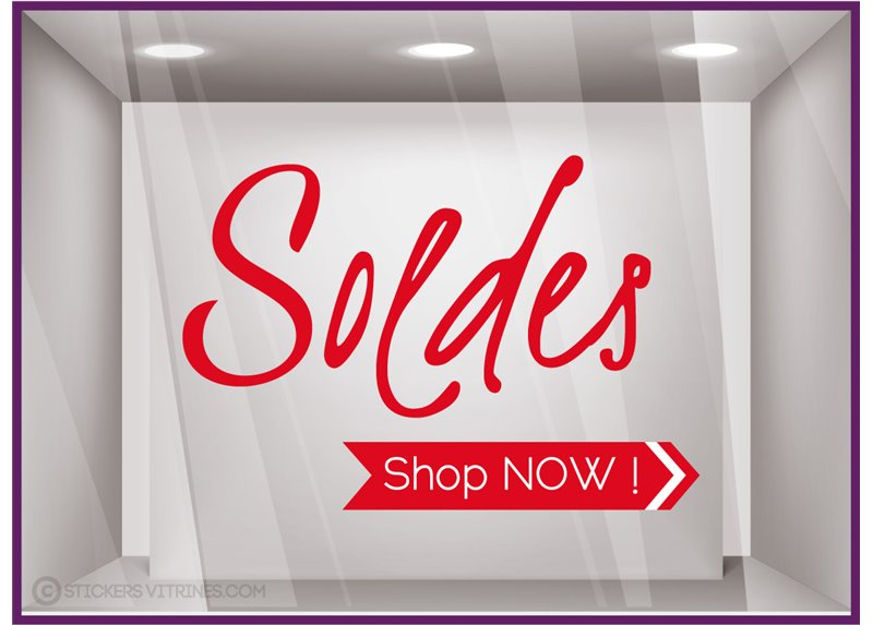 Sticker Soldes Shop Now autocollant calicot vitrophanie adhésif devanture vitrine magasin