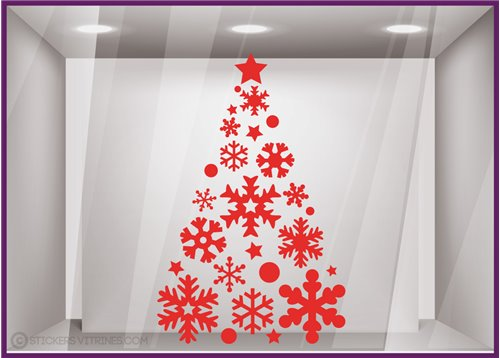 Sticker Sapin noel sticker vitrine magasins facade mode decoration