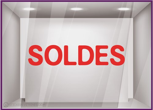 Sticker Soldes Simple destockage braderie liquidation lettrage adhesif texte autocollant mode opticien bijouterie maroquinerie