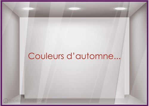 Sticker Couleurs d'Automne devanture decoration boutique commerce calicot lettrage adhesif