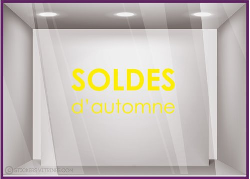 Sticker Soldes d'Automne commerce boutqiue vitrophanie idee decoration