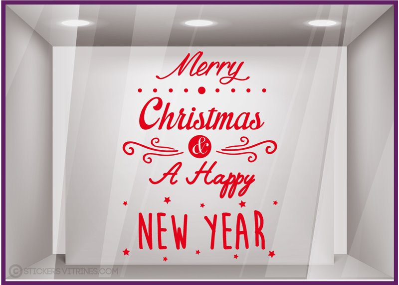 Sticker Merry Christmas and a Happy New Year noël vitrine magasin mode