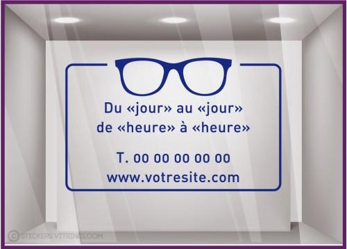 Sticker Horaires à personnaliser spécial Opticien