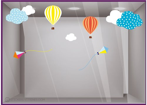 Kit de Stickers Cerfs-volants Montgolfières nuage calicot vitrine commerce boutique adhesif vitrophanie