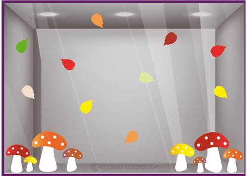 Kit Stickers Champignons d'automne feuilles rentree boutique vitrine vitrophanie magasin mode commerce