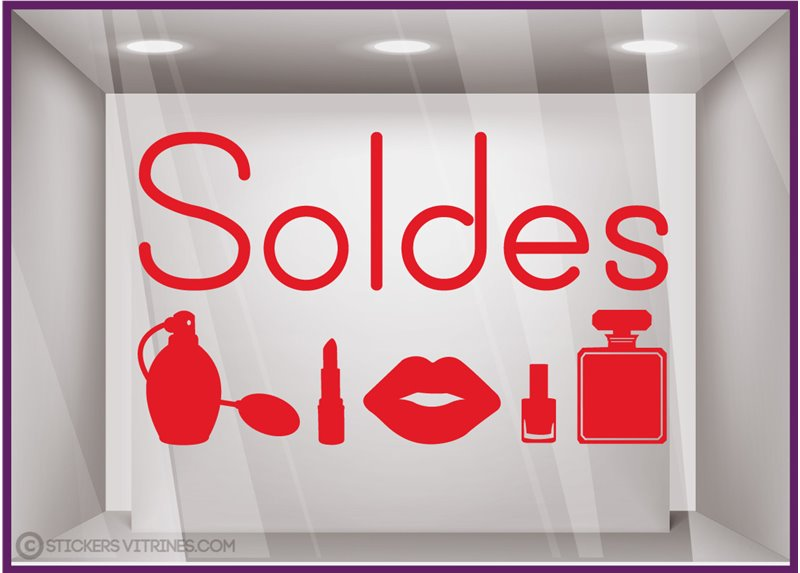 Sticker Soldes beauté parfumerie mode calicot vitrophanie lettrage adhesif promotion offre promotionnelle destockage braderie