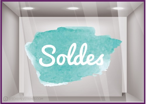 Sticker Soldes Aquarelle