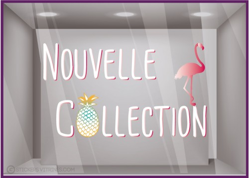 Sticker Nouvelle Collection Flamant Rose Ananas