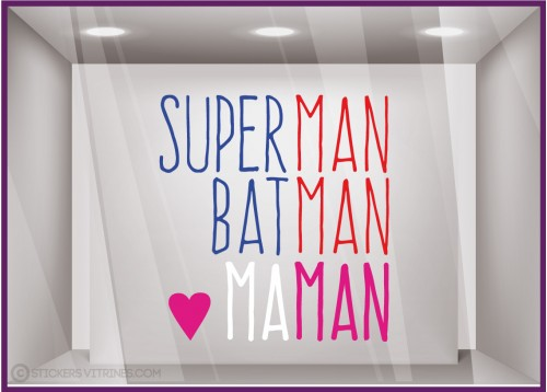 Sticker Superman, Batman, Maman