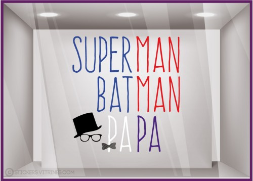 Sticker Superman, Batman, Papa