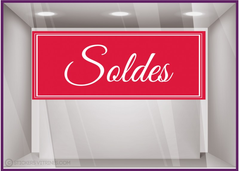 Sticker Soldes bandeau calicot vitrines magasin vitrophanie 50% fournisseur
