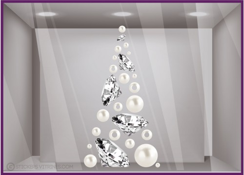sapin diamants perles stickers vitrines déco noel