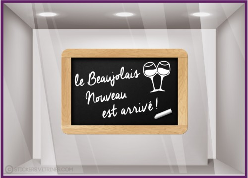 Sticker Ardoise Beaujolais Nouveau CALICOT VITROPHANIES CAVISTES SUPERMARCHES DECORATION