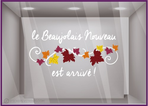 Sticker Texte Beaujolais Nouveau VITROPHANIE CAVISTE DECORATION CALICOT EPICERIE