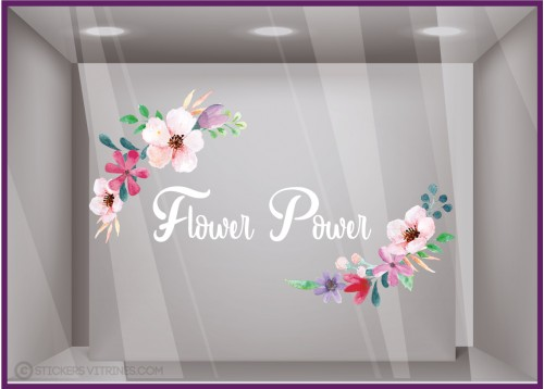 Sticker Flower Power autocollant vitrine