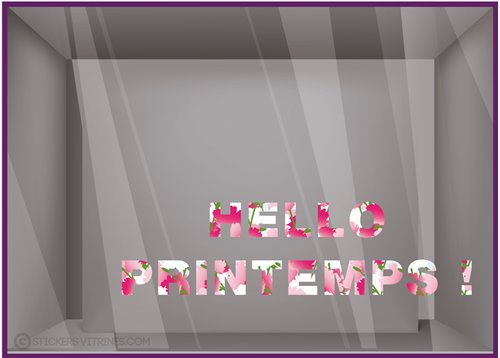 Sticker Lettrage Hello Printemps
