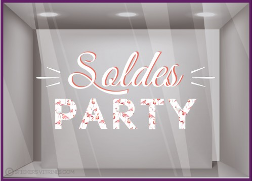 Sticker Soldes Party Flamants Rose