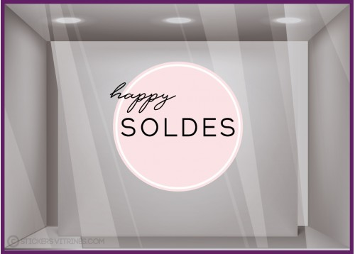 Sticker Rond Happy Soldes