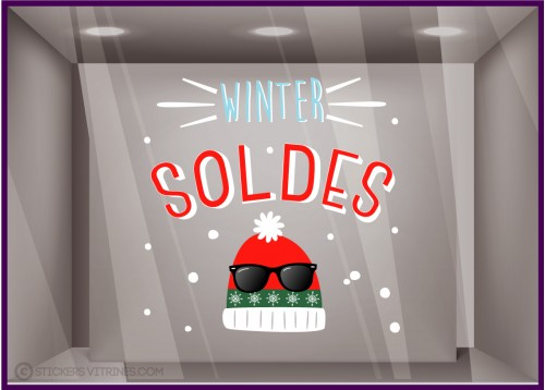 Sticker Winter Soldes Bonnets hivers promotion magasin vitrophanies