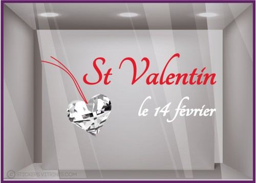 Sticker St Valentin Coeur Diamant
