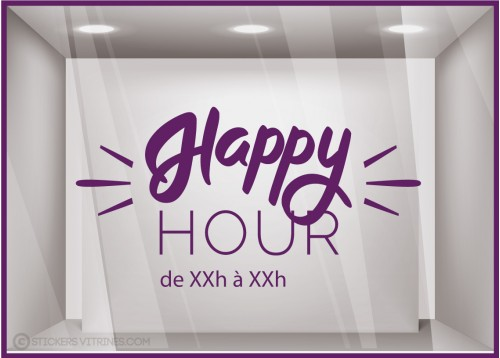 Sticker Happy Hour à personnaliser Autocollant Vitrine Horaires Adhésif RESTAURANT BAR