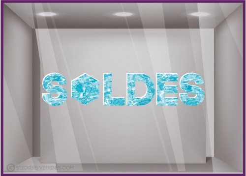 Sticker Soldes piscine Décoration vitrine boutique mode vitrophanie calicot ete lettrage