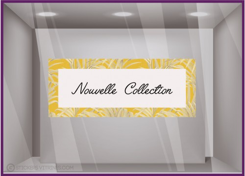 Sticker Bandeau Nouvelle Collection Feuilles Jaune