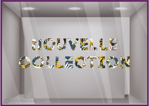 Sticker motif Floral Nouvelle Collection Bleu Jaune