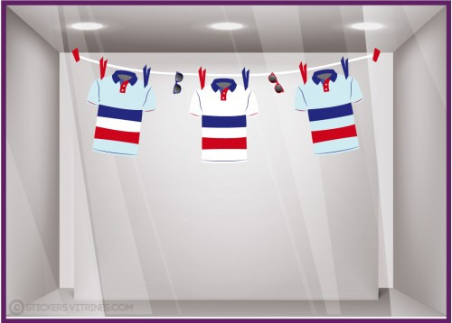 KIT DE STICKERS GUIRLANDE MAILLOTS BLEU BLANC ROUGE CALICOT RUGBY FOOTBALL TOUR DE FRANCE COUPE DU MONDE