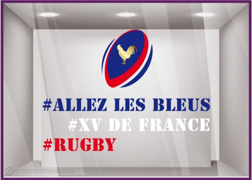 Sticker Rugby XV de France Coq coupe du monde bleus