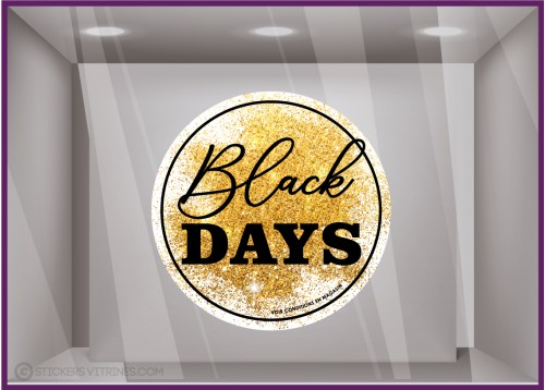 Sticker badge rond black days paillete promotion automne enseigne vitrophanie devanture vitrine black friday destockage calicot