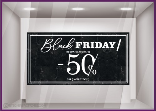 Sticker Bandeau Marbre Black Friday Personnaliser promos idee deco automne vitrophanie enseigne vitrine destockage week calicot