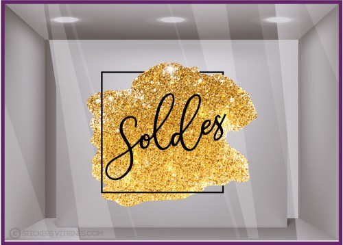 Sticker Carré Soldes Pailleté Or vitrophanie promotions signaletique vitrine magasin mode promotions enseigne mode