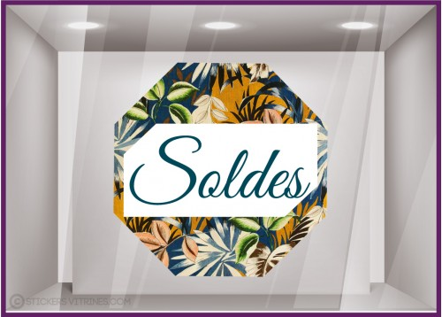 Sticker Soldes Octogone Motif Floral Bleu Vitrophanie Magasin Boutique Pourcentage calicot fabricant paris