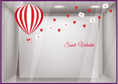 Kit de stickers Courrier du Coeur Saint Valentin Calicot Vitrophanie deco enseigne boutique fleuriste bijouterie magasin