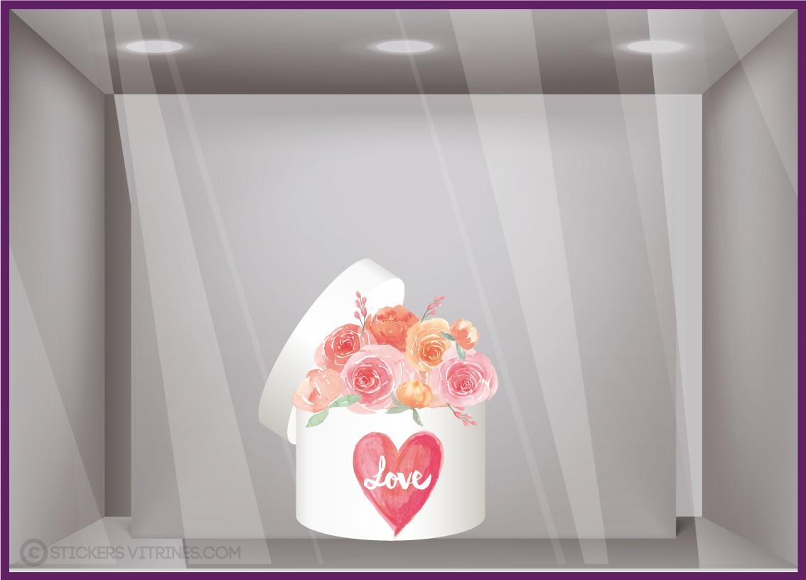 Combien De Rose Pour La St Valentin vitrophanie pour fleuristes : sticker boîte de roses st-valentin