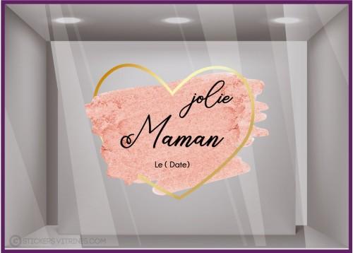 Sticker Coeur Paillettes Jolie Maman