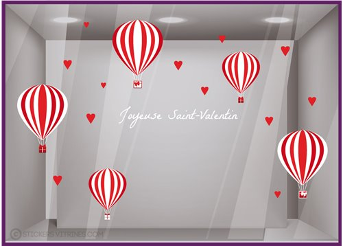 Kit de Stickers Montgolfières Saint-Valentin