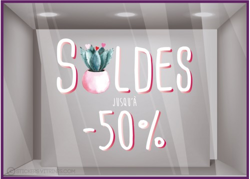Sticker Soldes Cactus -50% mode pret a porter maroquinerie decoration ete promotion destockage braderie liquidation commerce