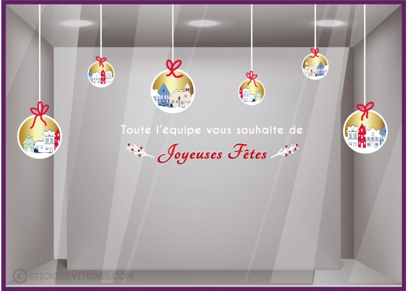 KIT DE STICKERS BOULES DE NOEL MAISONS DEVANTURE AGENCE IMMOBILIER DECORATION VITROPHANIE CALICOT commerce