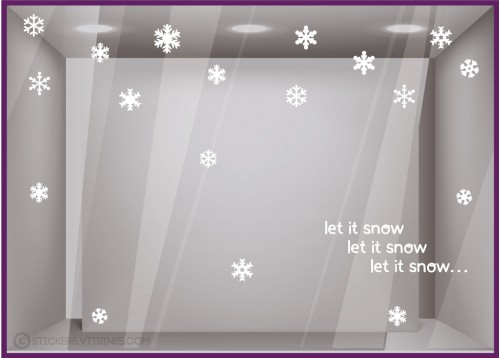 Kit de Stickers Let it Snow neige noel commerce boutique devanture vitrine mode bijouterie maroquinerie caviste