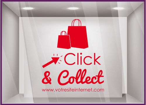 STICKER CLICK AND COLLECT PERSONNALISER VITRINE COMMERCE RESTAURANT TRAITEUR MAGASIN MODE BIJOUTERIE