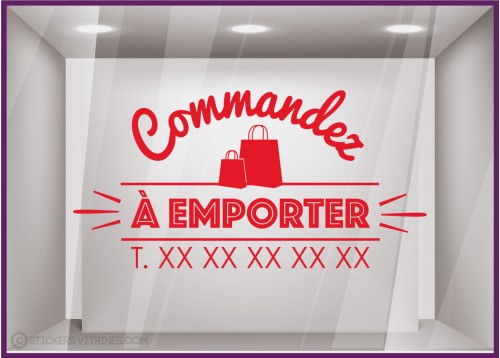 Sticker Commandez a Emporter restaurant signaletique vitrine commerce devanture lettrage adhesif calicot vitrophanie boulangerie