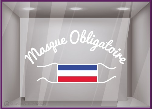 Sticker Lettrage Masque Obligatoire