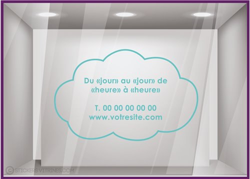 Sticker Horaires Nuage `a personnaliser