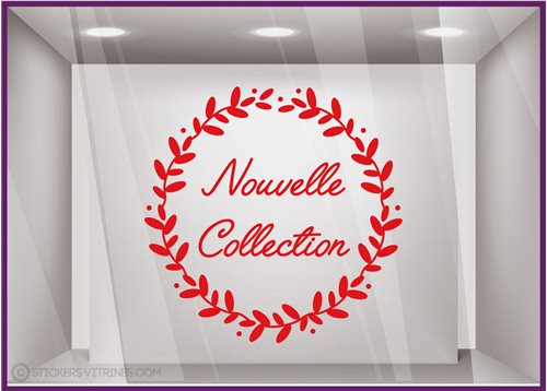 Sticker Couronne Nouvelle Collection lettrage adhesif autocollant calicot vitrophanie devanture vitrine decoration mode vitre