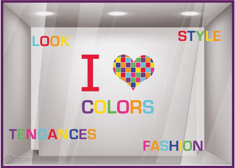 Kit de Stickers I Love Colors autocollant vitrophanie adhésif commerce vitrine magasin