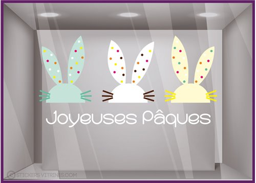 Sticker Lapin de Pâques vitrine decoration autocollant