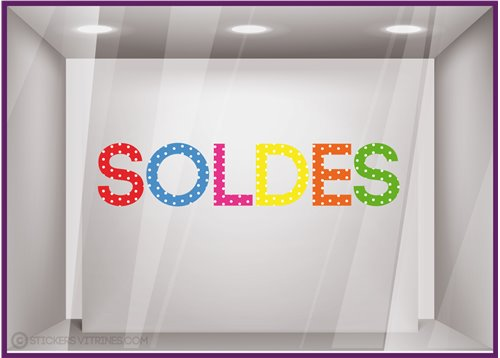 Sticker Soldes Pois promotion destockage braderie devanture boutique mode maroquinerie lettrage adhesif